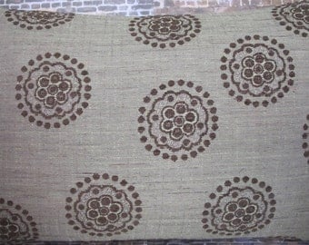 3BM Designer Pillow Cover 12 x 18 - Mod Floral Medallion Chenille Green and Brown