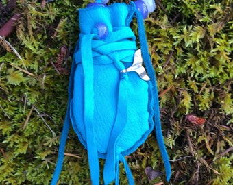 Ocean Blue Medicine Bag, Deerskin, Amulet Pouch, Whale Medicine, Whale Tail Bead, Handblown Glass Beads, Wrap Medicine Pouch, Turquoise