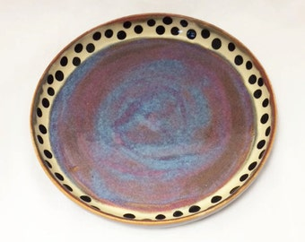 Ceramic Dinner Plate, Plates in Plum, Purple, Blue and Maroon with Black Dot Design