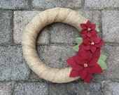 Poinsettia Wreath. Christmas Wreath. Winter Wreath. White & Red Wreath. Yarn and Felt Wreath. (W17c)