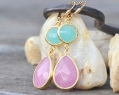 SALE Pink Teardop Stone and Turquoise Dangle Earrings in Gold.  Bridesmaid Jewelry. Drop Earrings. Dangle Earrings. Gift. Wedding Gift.