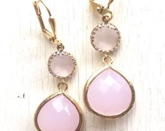 Soft Pink Bridesmaid Jewel Earrings in Gold.  Wedding Jewelry.  Bridesmaid Jewelry. Gift. Wedding Gift.  Drop Earrings. Dangle Earrings.