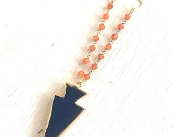 Gemstone Slice Necklace. Bead Necklace. Navy Blue Arrowhead Pendant Necklace. Orange Jewelry. Layering Necklace. Gift. Slice Geode Long.