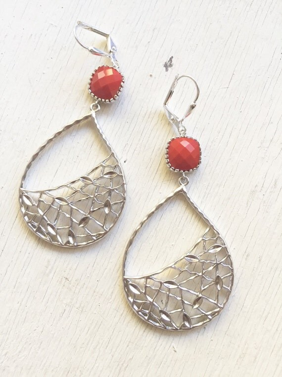Red and Silver Statement Earrings.  Large Dangle Earrings. Gift.  Jewelry Gift.  Gift for Her. Dangle Earrings.  Jewelry.