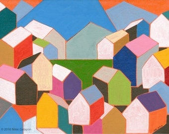 """Colorful original abstract geometric houses acrylic painting on canvas panel 7""""x9"""" modern wall decor"""