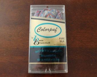 1960s Silk Pocket Square Vintage 60s Mens Pocket Hankie Colorpuf by Beau Brummell NOS