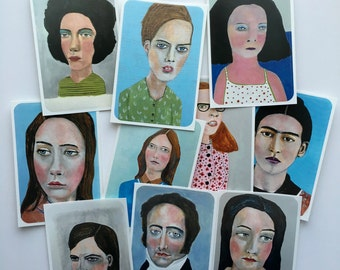 Art stickers // Modern Portraits Sticker Set # 4 //  set of 10 stickers from  original art portrait paintings