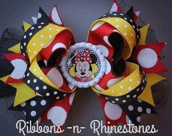Classic Minnie Mouse Bow, Minnie Mouse Bow, Minnie Mouse Hair Bow, Minnie Mouse Birthday, Disney Bow, Minnie Party, Minnie Mouse Party Bow