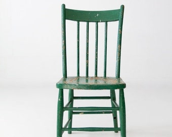 SALE antique green painted wood spindle chair