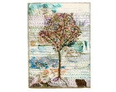 Mauve tree fiber art for home walls