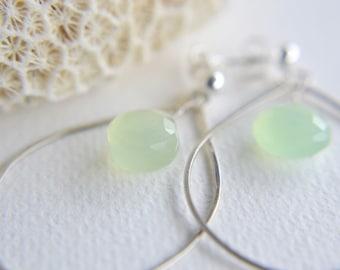 hammered hoop earrings with sea foam chalcedony