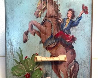 Vintage Painted Electric Cigar Box Ukulele UKELELE Uke JunkYard Dog number Nine with added cowboy girl horsey action