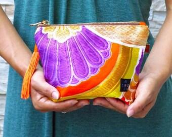 "Japanese Kimono  ""Japanese Silky Orange"" make up pouch -small/ zipper pouch/ cosmetic purse / black kimono fabric / small size pouch"