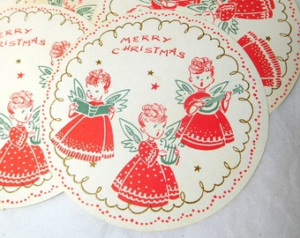 Vintage 60s Christmas Coasters Paper set of 9 Angels Music Red White Green Sweet Memorabilia