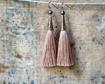 Tassel Earrings, Beige Silk Tassels, Extra Long, Boho Jewelry, Faceted Pearls, Pastel Colors