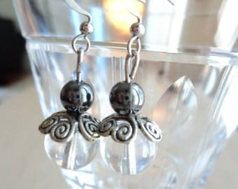 Glass Beads Earrings with Hematite