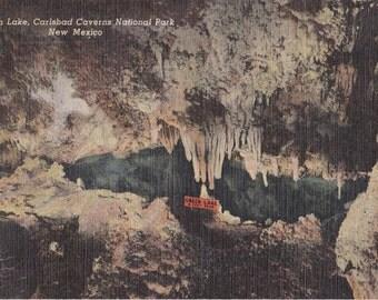 Green Lake- 1940s Vintage Postcard- Carlsbad Cavern National Park, New Mexico- Underground Lake- Cave Rock Formation- Paper Ephemera