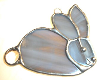 LT Stained glass Bunny Rabbit suncatcher light catcher made with gray grey glass LynsUniqueStainedGlalss my hand made in the USA art glass