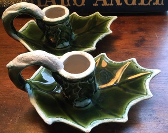 Candle Holders Holly Leaves Green Christmas Decor Handmade 1975
