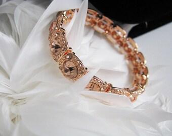 Wedding Bracelet, Rose Gold, Rhinestone Bracelet, Bridal Bracelet, Bracelet, Wedding, Pearl Jewelry, Rhinestone Jewelry, Bridal Jewelry