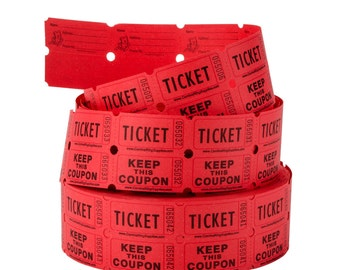 100 Numbered Carnival Tickets, Prize Tickets, Numbered Gift packaging  Birthday Party Favors