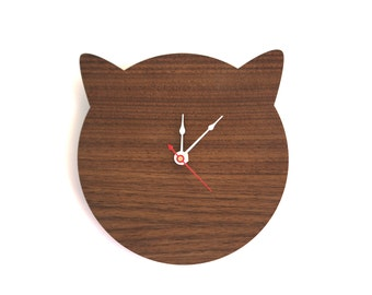 Cat Clock - Cat Lover Gift for Birthday - Walnut or Cherry Modern Large Wall Clock