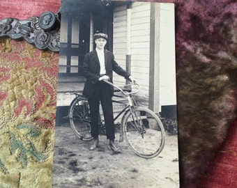 Gilson Bright Loved His Bike Antique Postcard A Chap & His Bicycle