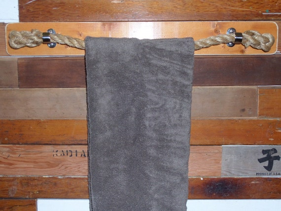 Knotted Rope Towel Rack With Stainless Steel Stanchion Mounts Choose Custom Size Nautical Beach Rustic  Towel Bar