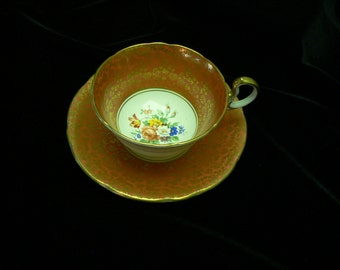 Aynsley Burnt orange Gold and Floral Design Cup and Saucer