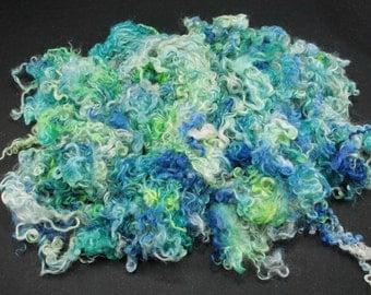 Teeswater  locks, hand painted fiber fleece for spinning and felting, 4.4 oz