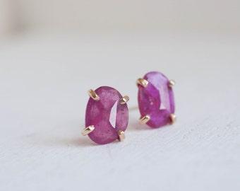 Rose Cut Ruby Earrings | 14k Recycled Gold