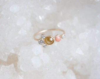 Yellow Diamond, Coral, White Diamond Cluster Ring | 14k Recycled Gold | Diamond Cluster Engagement Ring | One of a Kind