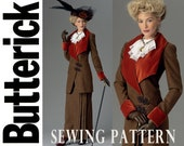 1900s Jacket Skirt and Dickey Pattern Uncut Butterick B6108 Retro Suffragette Wide Lapel Walking Suit Costume Womens Vintage Sewing Pattern