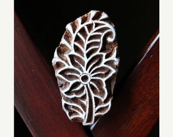 THANKSGIVING SALE Hand Carved Indian Wood Textile Stamp Block- Floral Motif