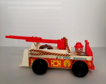 Vintage Fisher Price Fire Truck with Bell Pull Toy Boys & Girls Fireman Wooden Toy 1960's Fire Engine Red Fireman Present