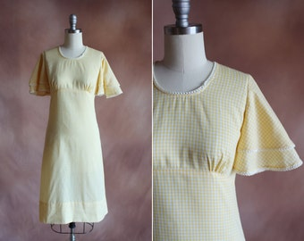 vintage 1960's pale yellow gingham cotton empire waist shift dress with tiered flutter sleeves / size s