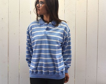 Striped Pullover Sweatshirt 1980s Baby Blue White Vintage Collared Preppy Shirt Large