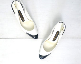 Patent Leather Pumps 1980s Vintage Sling Back Two Tone Black White High Heels US Size 7 Wide