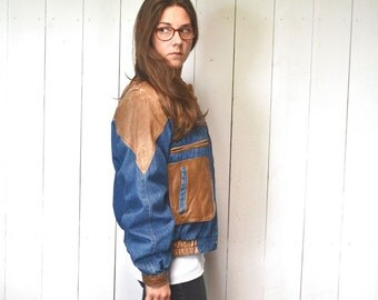 Leather Denim Jacket 1980s Bomber Patchwork Jacket Distressed Wilsons Leather Medium