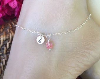Special Gift Sterling Silver Anklet with monogrammed charm tag and colorful bead of choice. Adjustable up to 10 1/2 inches. Ankle bracelet