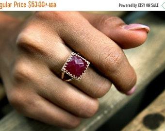 SUMMER SALE - pink rose gold ring,ruby ring,square ring,gemstone ring,feminine ring,double band ring,vintage ring