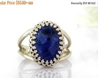 SUMMER SALE - Silver ring,sodalite ring,healing ring,gemstone ring,health stone ring,believe ring,semiprecious ring