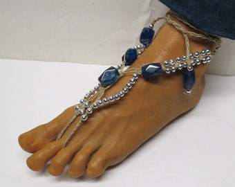 Pair of Blue Quartz gemstone and silver beaded barefoot sandals made with hemp.  Beach and bellydance fashion. HFT-A232