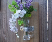 Hanging Vase, Rustic Chic Home Decor Wall Vase and Key Hooks, Etched Glass Hanging Vase