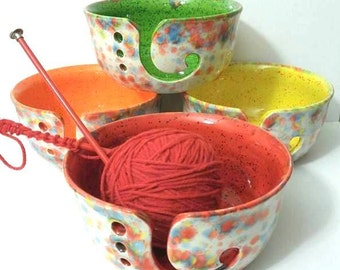 Fun-Fetti Wide Mouth Yarn Bowl Ceramic Choose your inside color - handmade in my Charleston, SC studio