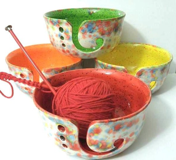 Knitting Bowl Funny : Fun fetti wide mouth yarn bowl ceramic gift for knitters