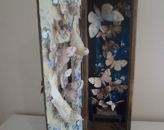 Assemblage vintage wooden box with beautiful moths The Moth