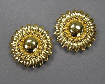 Flower Shoe Clips, Vintage Dress Clips, Gold Tone, Monet, Signed, 30's, 40's, Wonderful!