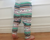 SALE Multi Colored Aqua, Mint, Coral, Tan, Floral, Baby Girl, Knit Leggings Pants, Teal, Orange, Pink, Purple,Yellow