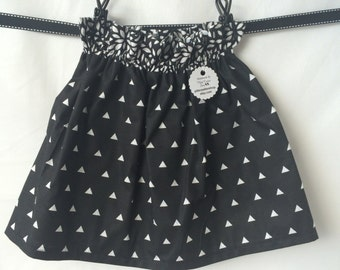 CLEARANCE Black and White Triangle Boutique Ruffle Waist Skirt